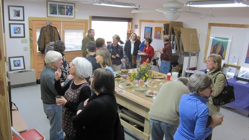 Open studio crowd at Rosemary Conroy's event
